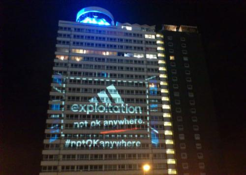 Adidas Exploitation Not Ok Anywhere Projection